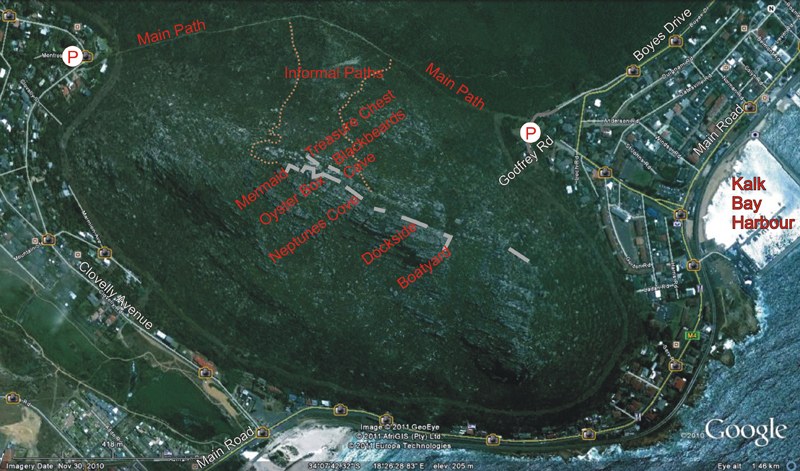 Kalk Bay crags access map, view from space.jpg
