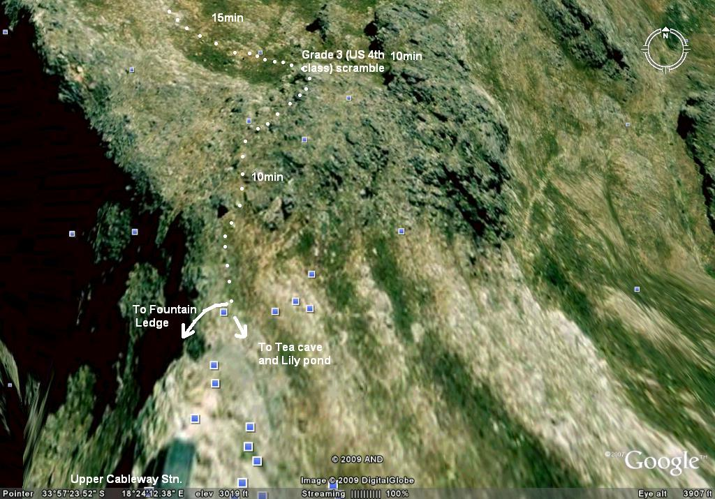 The Google earth photo, unfortunately does not do justice to the detail and the angle of the upper part of the India Venster trail