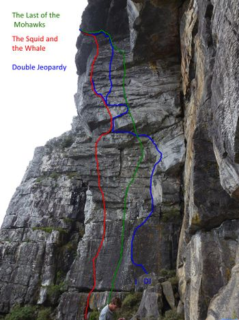Climbing routes on Fountain Ledge