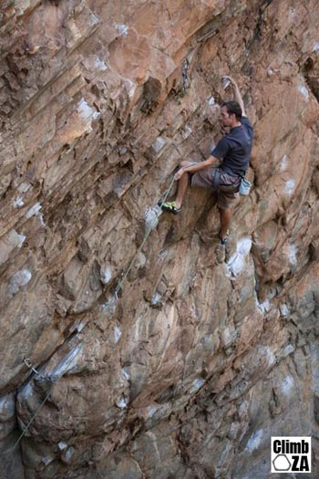 Simon Lowe redpointing Twisted Steel (29) at The Scoop Photo: Justin Lawson