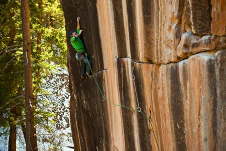 Sonnie Trotter from Canada making the first retro-trad ascent of Prosthetics 5.13d (r/x) at Mill Creek, Utah, USA. Photo by Andrew Burr