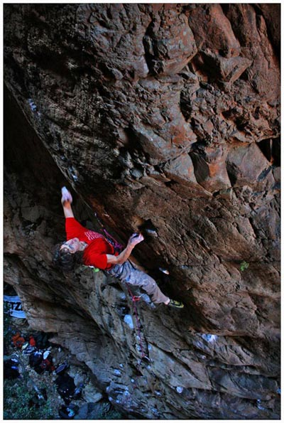 Adam flashing an 8b on the Rock and Road Pic: Martin Renz
