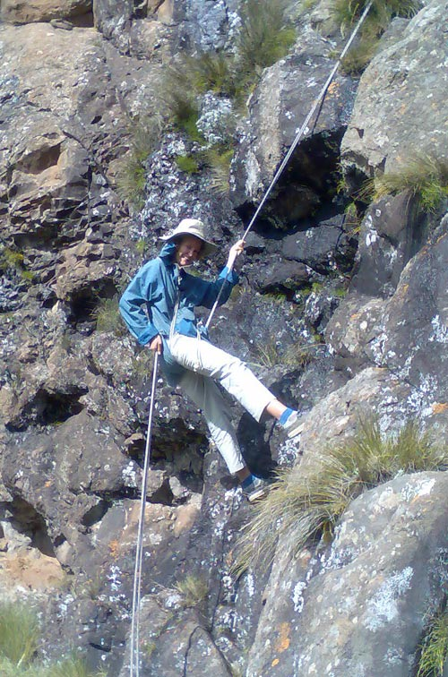 Hannelie Morris abseiling the way they did 50 years ago: slowly and painfully.