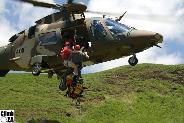 Joint SAAF-MCSA mountain rescue training exercise held in the Drakensberg - Hoisting up to the SAAF Augusta