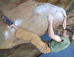 Christian Core bouldering in a pair of Boreal shoes on the Egg Files at Rocklands.