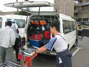 Packing our taxi at Nairobi Airport