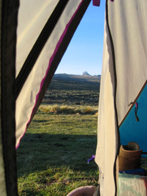 The view from our tent of the main peaks