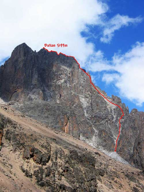 North Face summit route to Batian