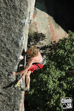 Clinton Martenengo Shaka 8b+ at Paarl Rock. Photo By Robert Breye