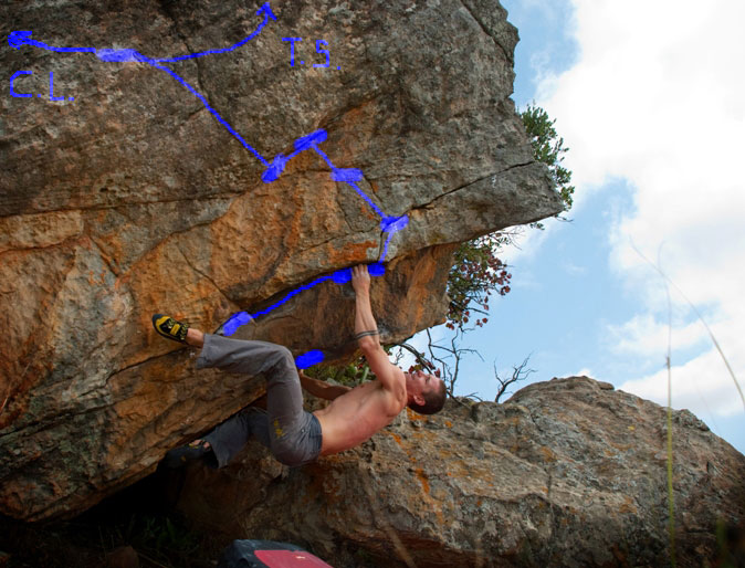 City Lights 7B at the Thunder and Lightning boulder, Swineburne