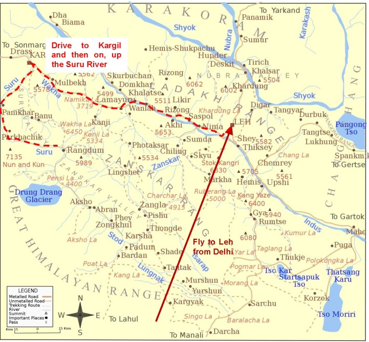 India Big Wall Expedition Planned route