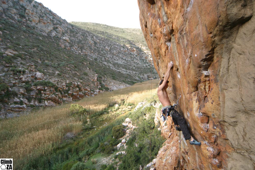 Matt Climbing at Uriah Heap, Montagu.