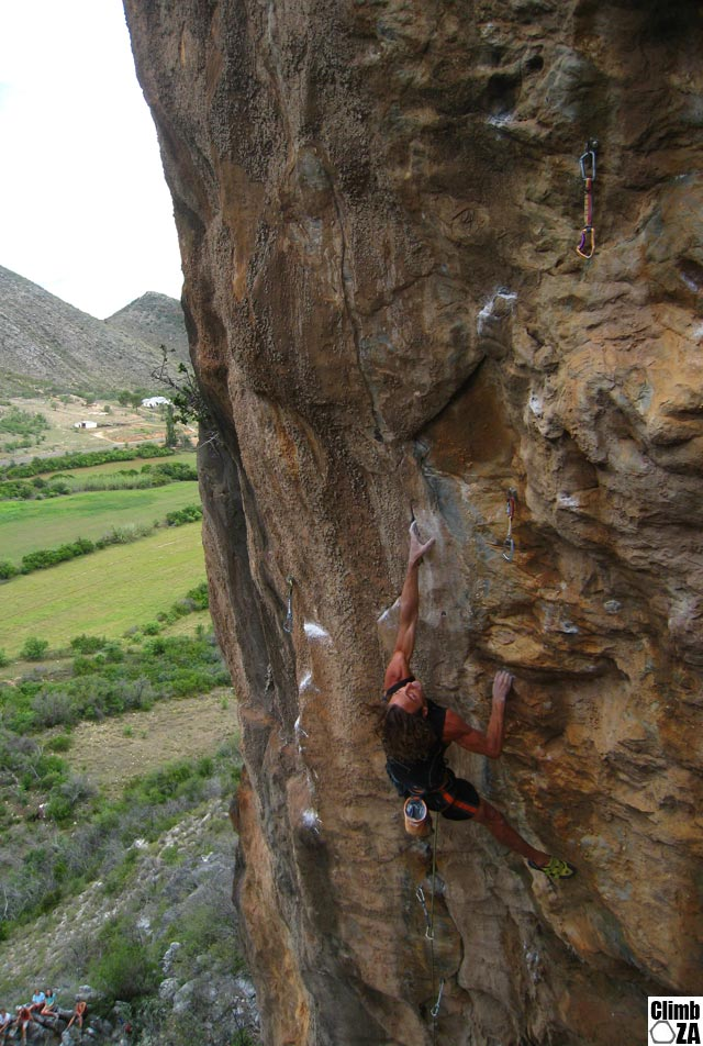 Matt Bush during the first ascent of Mr Incredible that won him the 2010 Rock & Road men's final.