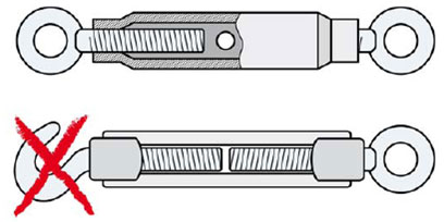 Fig 22 Turnbuckles for wire cable (above, tube turnbuckle with eye mounting; below open turnbuckle with hook (left) and eye mounting—not recommended)