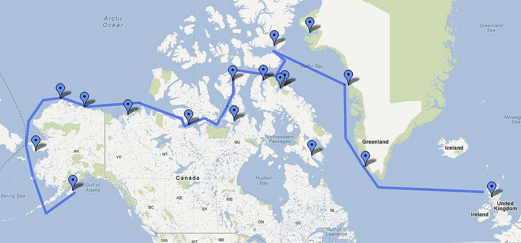 SA Arctic Expedition route