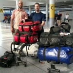 Rob and Douard with their 160 kg of luggage at the airport.