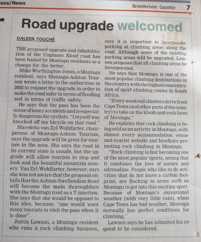 Cogmans Kloof Road Upgrade