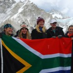 The Five St Mary's girls make it to Everest Base Camp - Biana, Bernie, Alex, Julia and Kim with SA flag