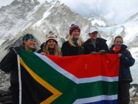 The Five St Mary's girls make it to Everest Base Camp - Biana, Bernie, Alex, Julia and Kim with SA flag