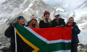 The Five St Mary&#039;s girls make it to Everest Base Camp - Biana, Bernie, Alex, Julia and Kim with SA flag