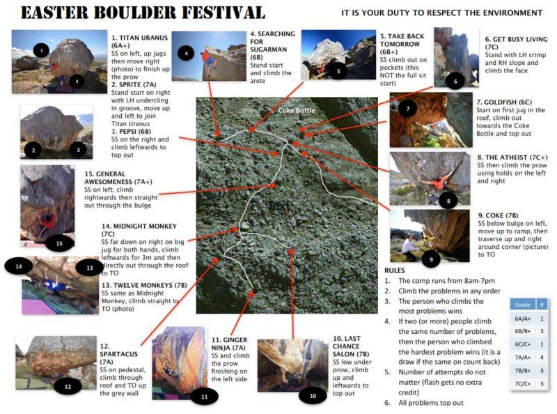 Easter Boulder Comp Topo 2013