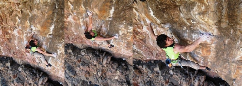 Brian Weaver working the crux on the Violent Streak project.