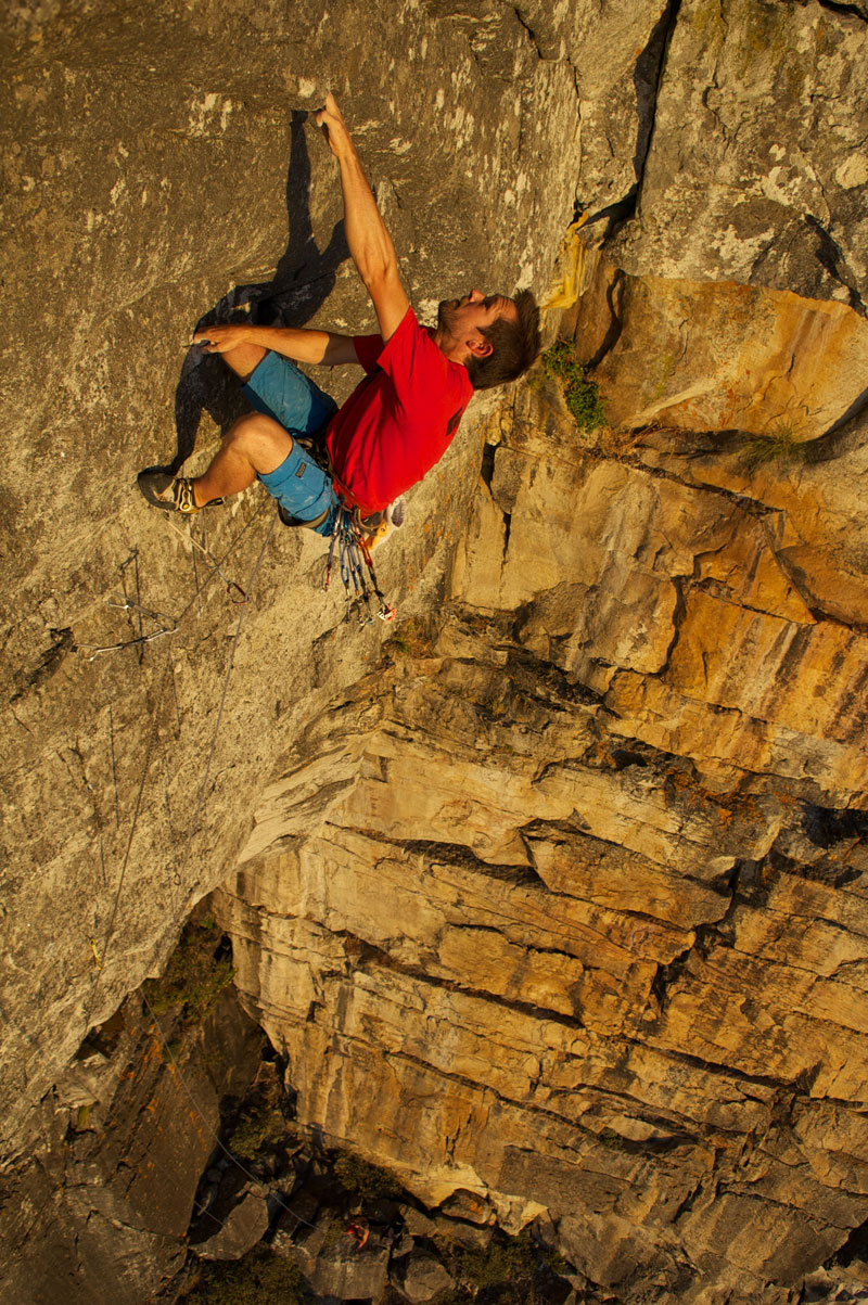 Jamie Smith on the second ascent of Double Jeopardy (30), Table Mountain.