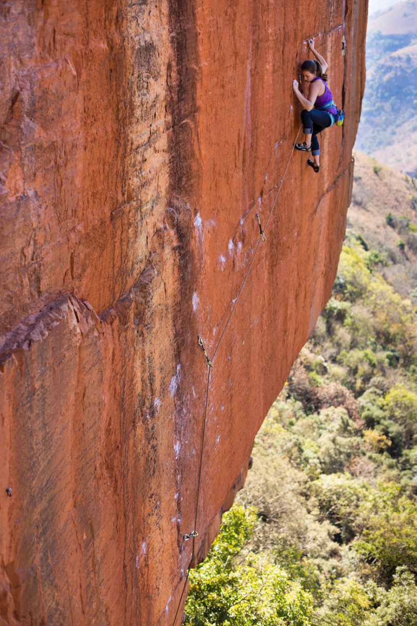 Paige Claassen climbing in South Africa