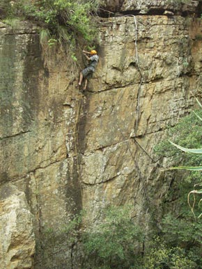 Mark Millar attempting Absolute Beginners, Grootkloof (7a/24 trad).. Photo by: Graham Terrell