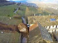 Rockfall boulders destory house