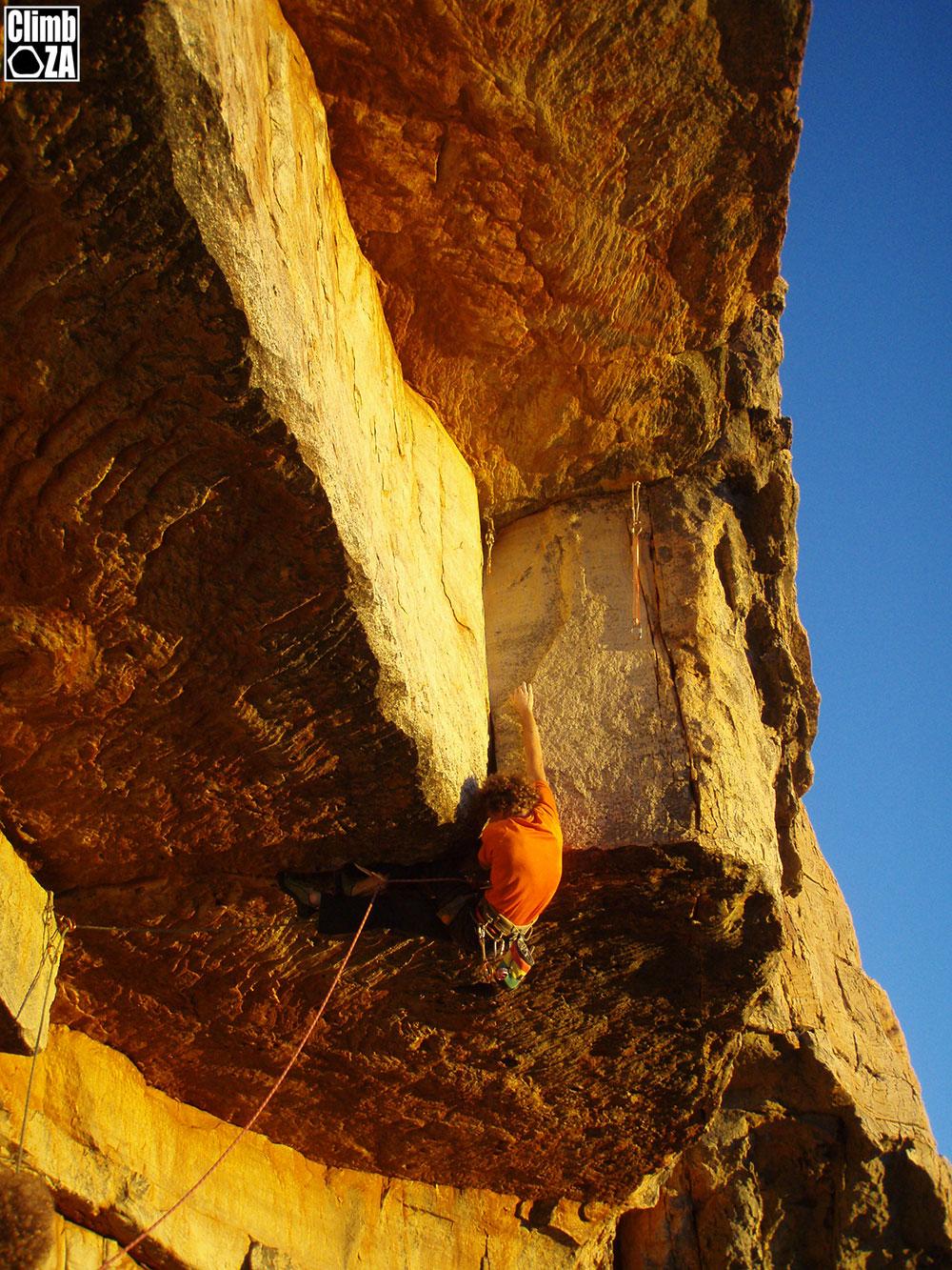 Clinton Martinengo climbing Mighty Mouse at Tafelberg