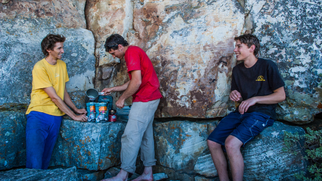 Lunch on TM after a hard morning on Triple Jeopardy (8a+ trad).