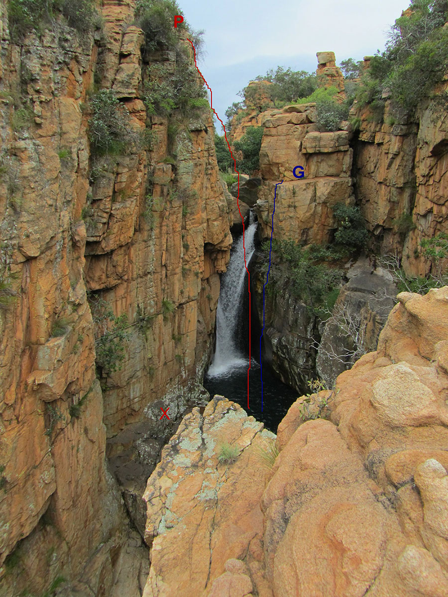 jumping point at the Castle Gorge pool, Magaliesberg
