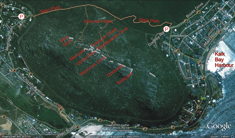 Kalk Bay Crag Map