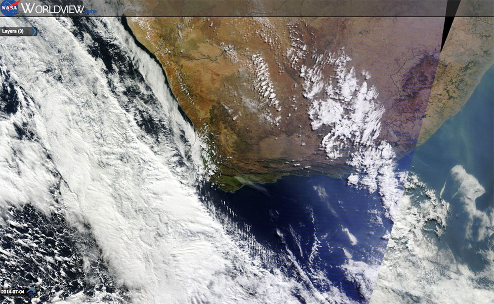 Nasa Satellite image of South Africa cold front bringing snow to the Western Cape