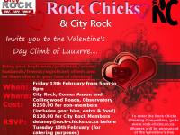 Valentine rock climbing
