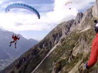 Paraglider lands in Cable Car