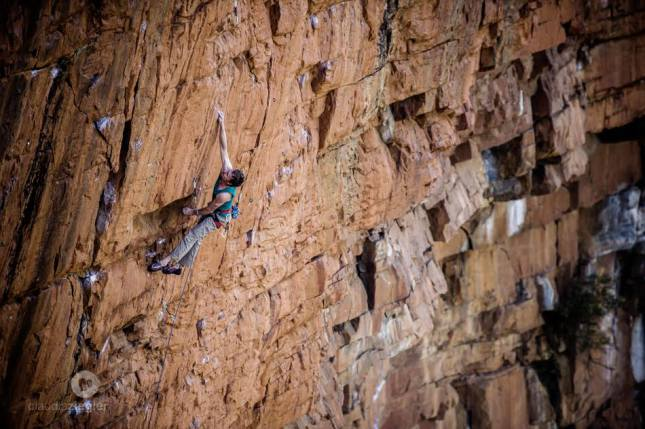 The deadpoint crux… A massive launch to a one pad crimp 25m into the route. HARD