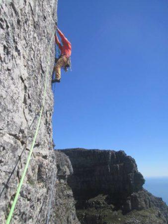 Rock climbing big drop