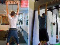 Left: Good hangboard technique: Eric Horst. Training for Climbing ©  •Shoulders back & looking forward   •Slight bend in elbows  •Open or half-crimp •Engaged  Right: Bad hangboard technique:  •Hunched  •Straight arms (i.e. hanging on your skeleton) •Fully Crimped •Unengaged and pap!