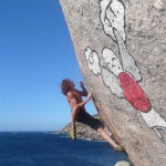 Matt Bush bouldering at Llandudno