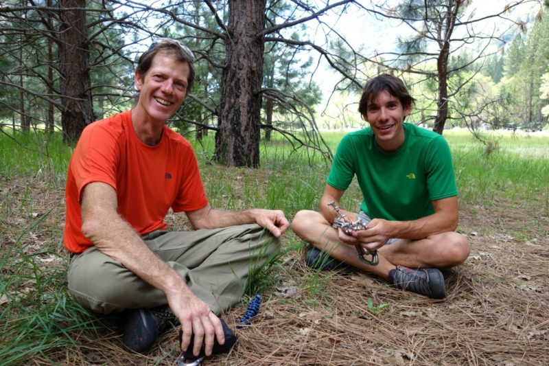 """Alex and I discussing the pros and cons of free soloing with X4s. Alex: """"I am psyched about these new BD babies""""."""