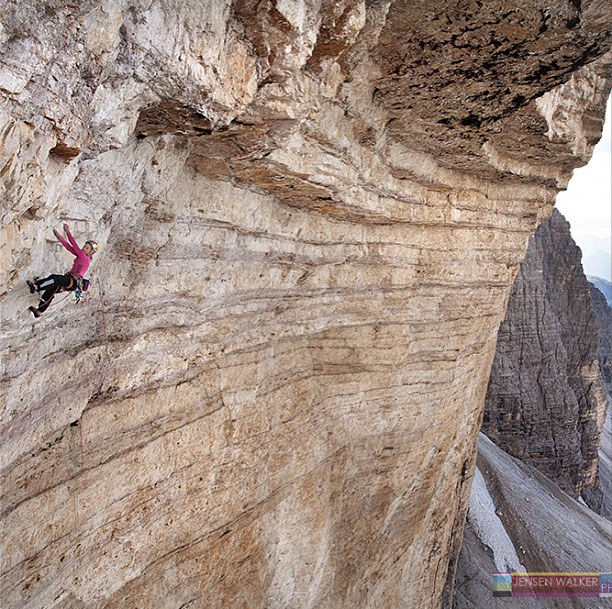 Doing the first female ascent Bellavista, 8c, in the Dolomites, Italy.  Photo by Jensen Walker