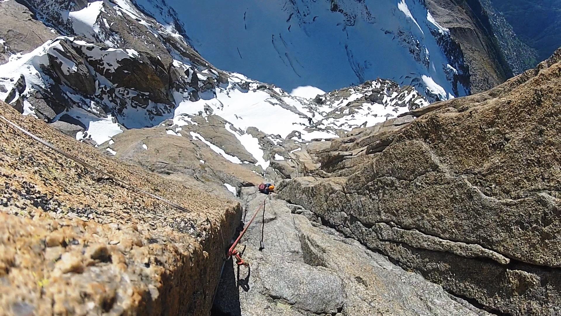 Backing off Grand Charmoz, Chamonix