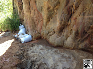 The 5 sandbags at the base of Arendsig at Waterworld