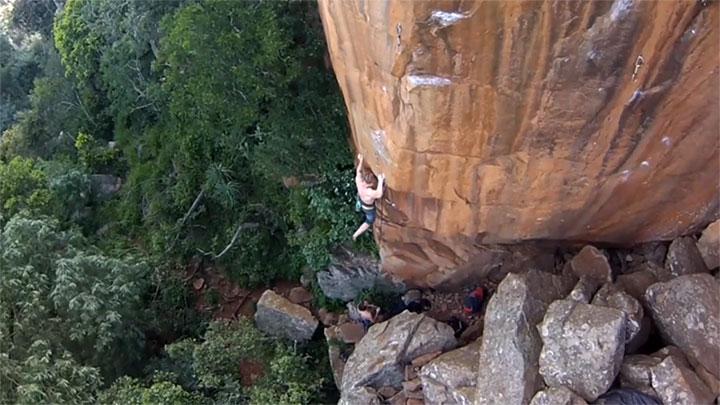 Evan Margetts rock climbing