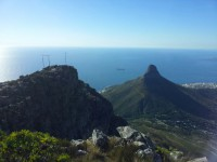Looking out at Lion's Head from Table Mountain