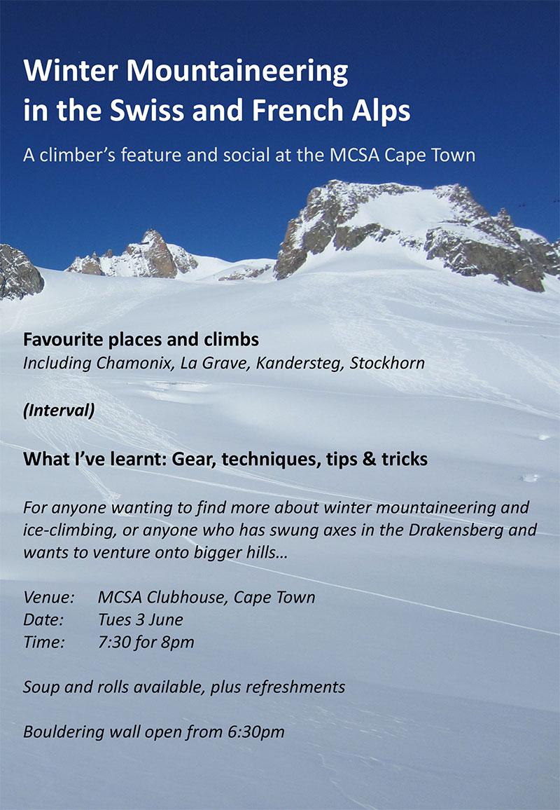 Winter ice climbing talk by Ant Hall