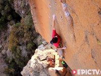 Kilian Fischhuber climbing at the Wow Prow in South Africa