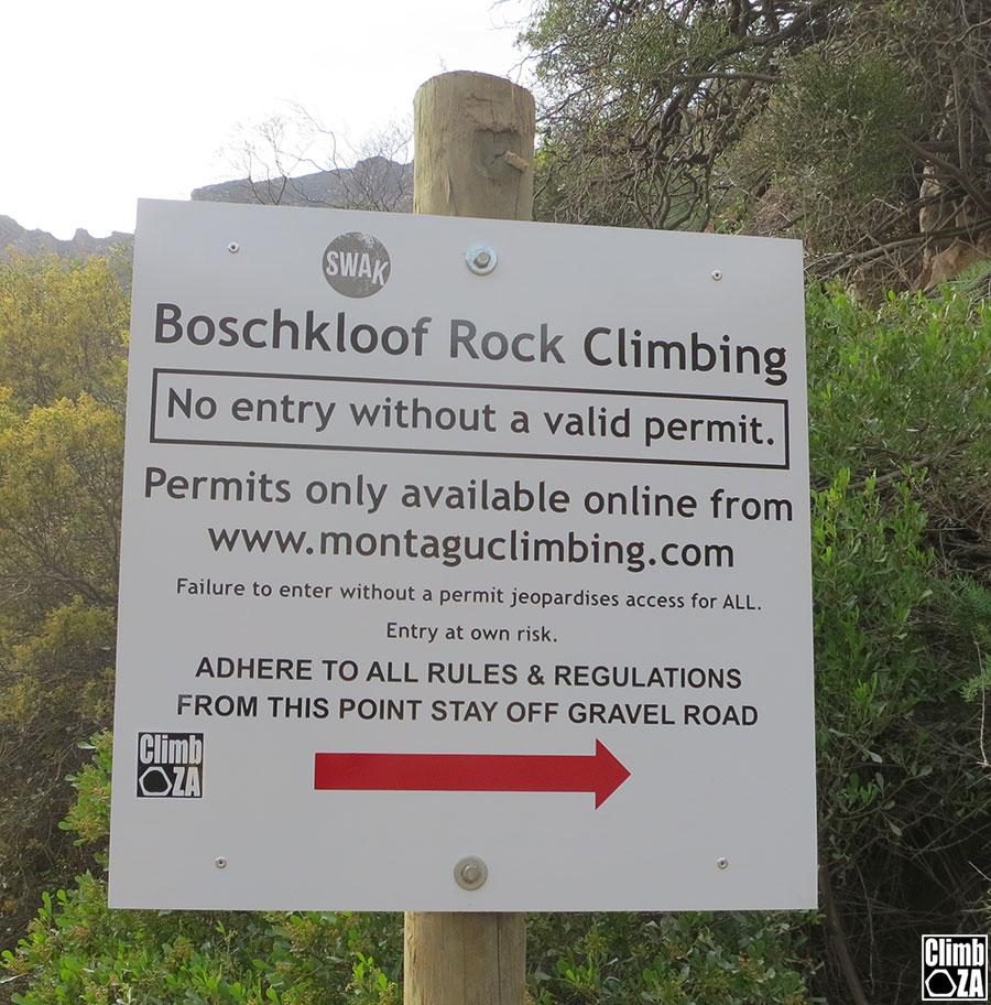 Rock climbing entry sign